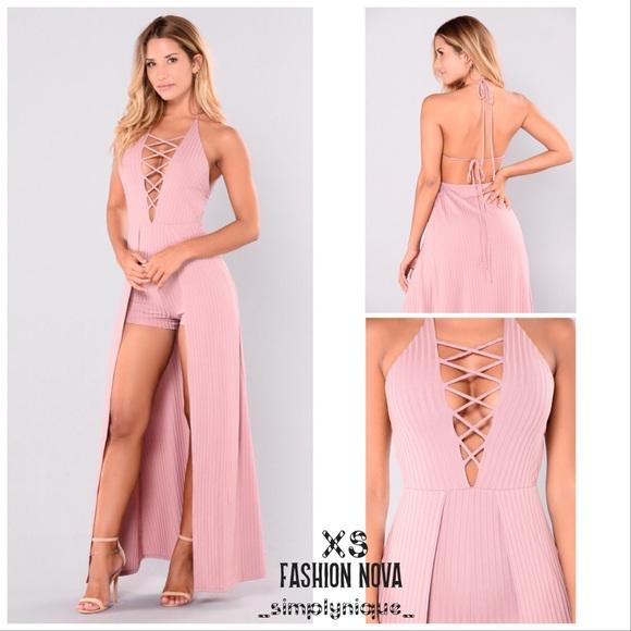 226e9ecd080 Fashion Nova Dresses   Skirts - Lace Up Maxi Romper